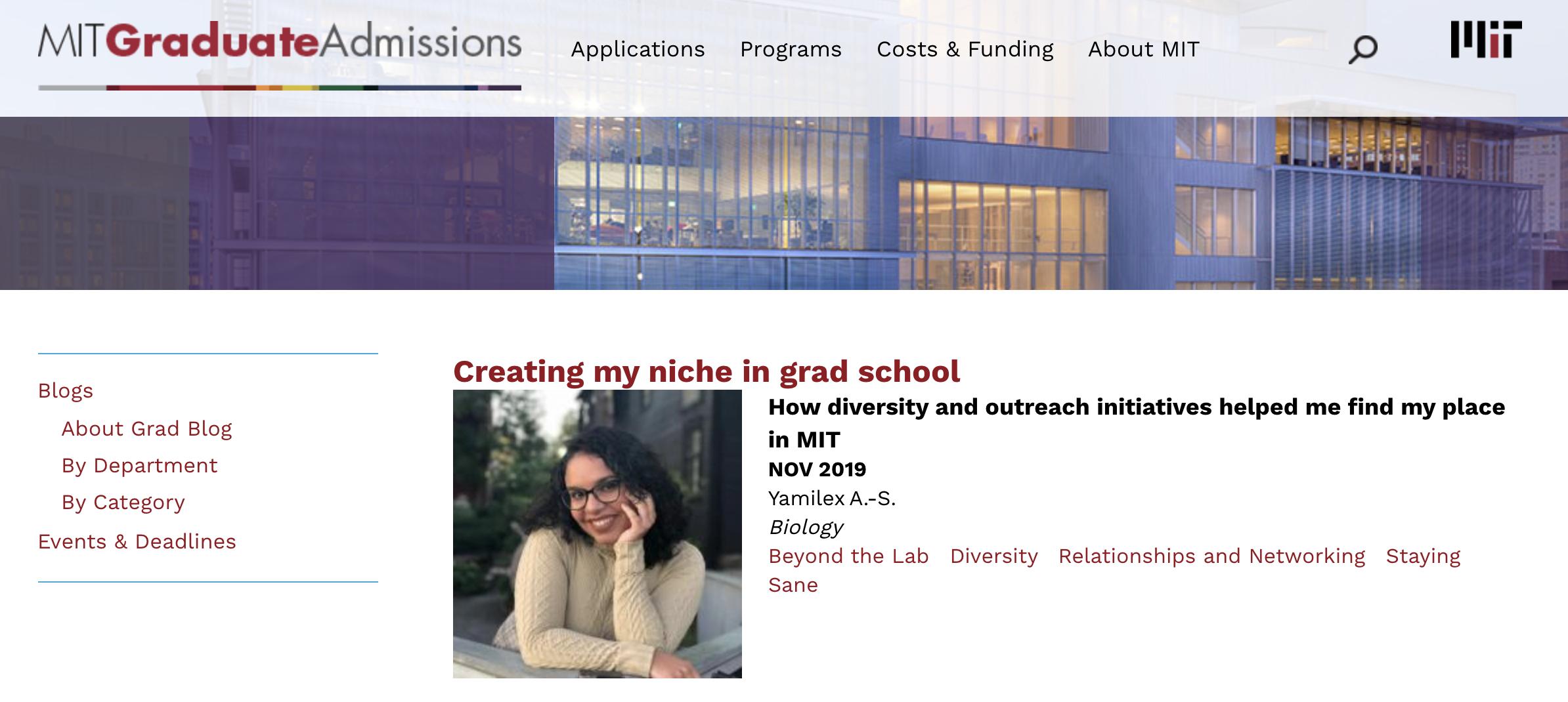 Creating my niche in grad school