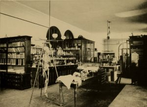 Black and white image of lab