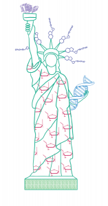 Sketch of the Statue of Liberty made of molecules